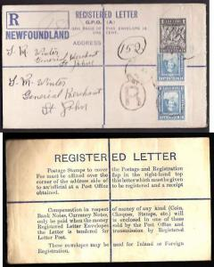 Newfoundland cover #11256-reg'd envelope-rounded flap [RE1]- Bl