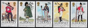 Alderney 1985 , Regimental Uniforms  MNH set # 23-27
