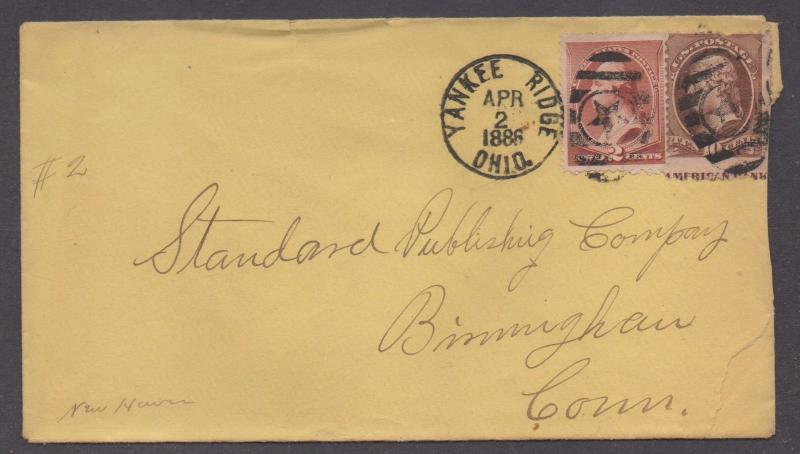 **US 19th Cent Cover, SC# 209, 210, Yankee Ridge, OH 4/2/1886, DPO5, XF Strike
