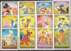 Fujeira - 1972 Disney Characters Mickey Donald - 12 Stamp Set - 6H-004