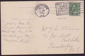 CANADA 1926 postcard ex Vancouver - Stamp exhibition slogan cancel..........7667