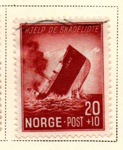 Norway Sc B36 1944 Sinking Ship stamp used
