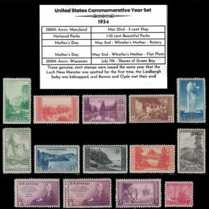 1934 US Postage Stamps Complete Commemorative Year Set Mint