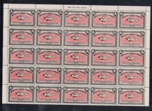 Canada #CL40b Very Fine Never Hinged Plate Sheet Of Twenty Five - Dark Red Bkgd