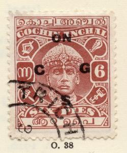 Cochin 1930s Early Issue Fine Used 6p. Optd 268182