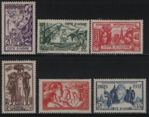 IVORY COAST, 152-157, (6) SET, HINGED, 1937, PARIS INTL.  EXPOSITION ISSUE