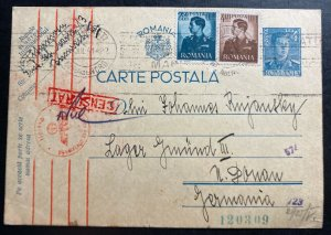 1941 Bucharest Romania Postcard Censored Cover To Gmund Concentration Camp KZ