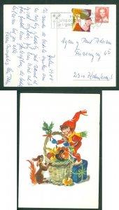 Denmark. Christmas Card 1988. Seal+ 3.00 Kr. Hjorring.Santa,Giftbasket, Squirrel