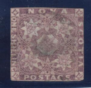 Nova Scotia #6 Used Fine With Light Cancel & Central Thin Spot