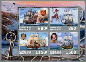 Gabon Sailing Ship Ocean Souvenir Sheet of 4 Stamps Mint NH