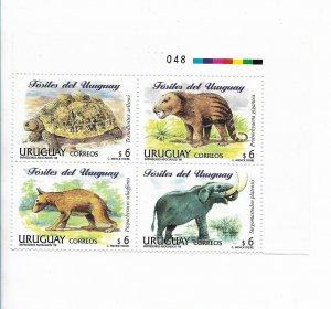 URUGUAY 1998 FOSSILS PREHISTORICAL ANIMALS DINOSAURS BLOCK OF FOUR MINT NH