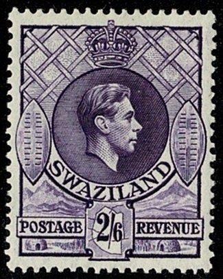SWAZILAND KG VI 1938-54 2/-6d BRIGHT VIOLET UNUSED SG36 Wmk.MSCA P13.25x13 VGC