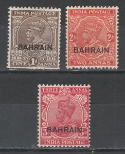 BAHRAIN 1934 KGV 1A 2A AND 3A