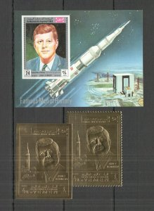 NW0216 IMPERF,PERF YEMEN GOLD SPACE USA PRESIDENT KENNEDY AIRMAIL 1BL+2ST MNH