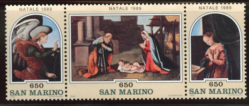 San Marino Scott 1192-1194 = 1194a MNH** 1989 Christmas strip