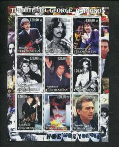 Turkmenistan Musician George Harrison Commemorative Souvenir Stamp Sheet