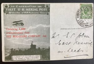 1911 London England First Coronation Flight Airmail Postcard Cover To Leeds