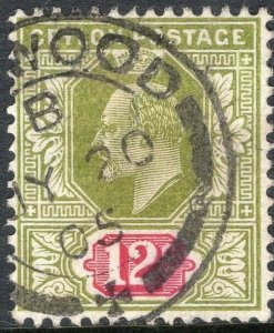 CEYLON-1903 12c Sage-Green & Rosine Sg 270 FINE USED V50134