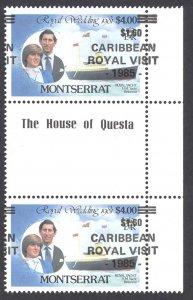 Montserrat Sc# 578 (MAJOR OVERPRINT SHIFT) MNH Gutter Pairs 1985 Royal Visit