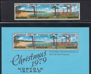 Norfolk Island # 251-253 & 253a, Christmas - Emily Bay Beach NH, 1/2 Cat.