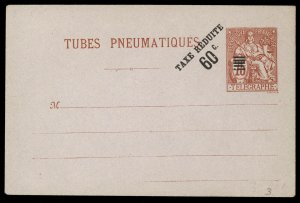 fr028 France Tubes Pneumatiques envelope 75c red, 60c black overprint, unused