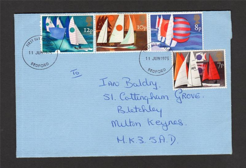 8p SAILING WITH BLACK OMITTED ON FIRST DAY COVER