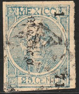 MEXICO 68, 25c 1-71 WITH PLATE RETOUCH IN MEXICO. F-VF. (75)