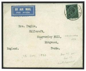 Y124 1932 NYASALAND Zomba Diplomatic Air/Ringwood