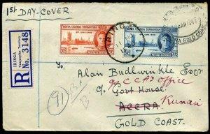 Tanganyika 1946 Registered Iringa Victory FDC to Gold Coast redirected