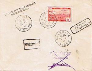 Algeria 5F Plane Over Algiers Harbor 1946 Alger-Gare, Section-Avion First Fli...