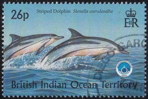 BIOT 1998 used Sc #203 26p Striped dolphin Int'l Year of the Ocean