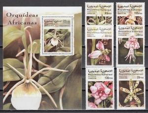 Sahara, 1999 Cinderella issue. Various Orchids set & s/sheet.