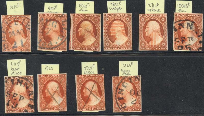 #10, USED GROUP OF 10 DIFF PLATED COPIES Cat $2,480.00