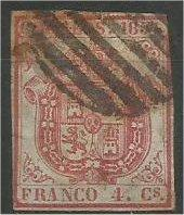 SPAIN, 1854, used 4c, Coat of Arms. Scott 25a