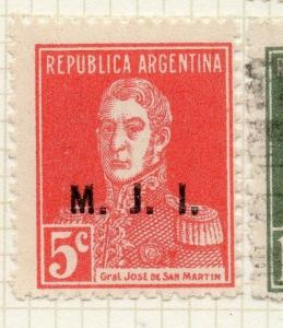 Argentina 1924 Early Official MJI Optd Issue Fine Mint Hinged 5c. 188473