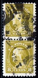 US STAMP #508  1917-19 8¢ Franklin USED PAIR