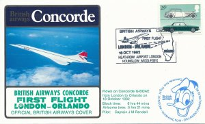 Cover UK Great Britain Concorde 1982 First Flight London Orlando G-BOAE Rendall