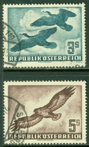 EDW1949SELL : AUSTRIA 1953 Sc #C57-58 Birds Very fine, Used. Tiny thin. Cat $190