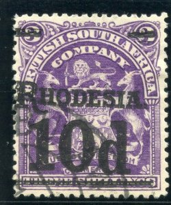 Rhodesia 1909 10d on 3s deep violet (black ovpt) very fine used. SG 117. Sc 91