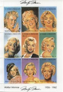 1994 St Thomas & Prince Marilyn Monroe MS9 MNH