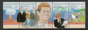 MARSHALL ISLANDS 200-204, 204a MNH KENNEDY STRIP OF 5