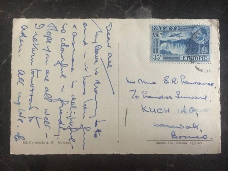 1930s Ethiopia Real Picture Postcard Cover RPPC to Sarawak Borneo Native Village