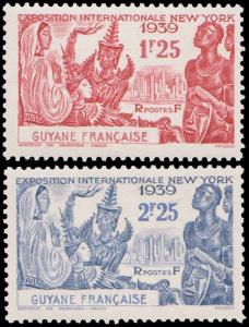 French Guiana Scott 169-170 Unused lightly hinged.
