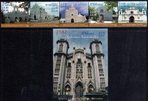 EL SALVADOR CHURCHES, STRIP of 5v + S/S Sc 1591-2 MNH 2003