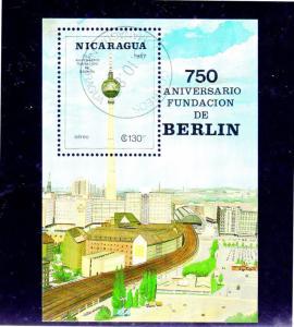 NICARAGUA #C1154  1987  BERLIN  750TH ANNIV.   MINT  VF NH  O.G  S/S  CTO