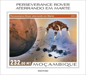 Mozambique 2021 MNH Space Stamps Perserverance Rover Mars Landing 1v S/S II