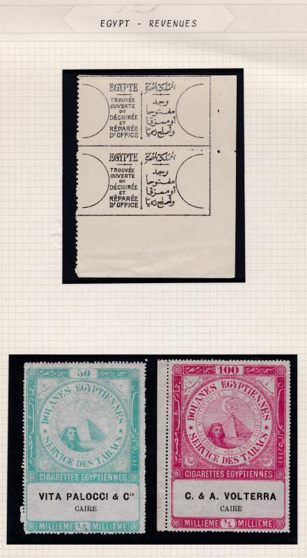 Egypt c1920 lot of 3 Revenue Items Official Seal & 2 1/4m Tobaco Tax Seals FINE
