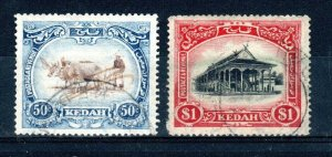 Malaysia - Kedah 1924 50c wmk variety and 1924 $1 FU