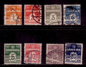 Denmark Sc 57-64 1905 Numeral & wavy line stamps used