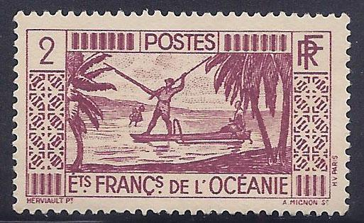 French Polynesia # 110 MLH - 1934-40 2fr Spear Fishing